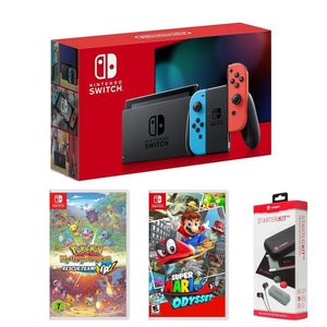 Nintendo Switch Console Neon + Super Mario Odyssey + Pokemon Mystery Dungeon Rescue Team DX + Starter Kit [Bundle]