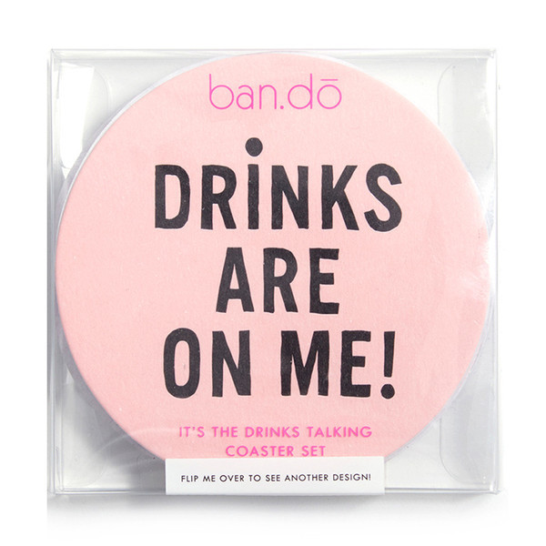 Ban.do It's The Drinks Talking Coaster Set Drinks Are  On Me