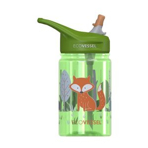 EcoVessel Scout Kids Water Bottle With Flip Straw Fox 350 ml