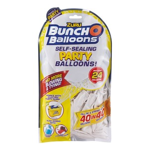 Bunch O Balloons Party 24 Self-Closing Latex Balloons Refill Pack White