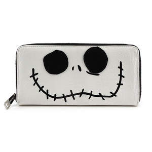 LOUNGEFLY DISNEY NIGHTMARE BEFORE CHRISTMAS JACK BIG FACE ZIP AROUND WALLET