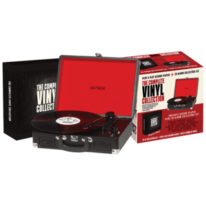 The Bellevue Complete Vinyl Collection Record Player Black [Includes 20 Vinyl Albums]