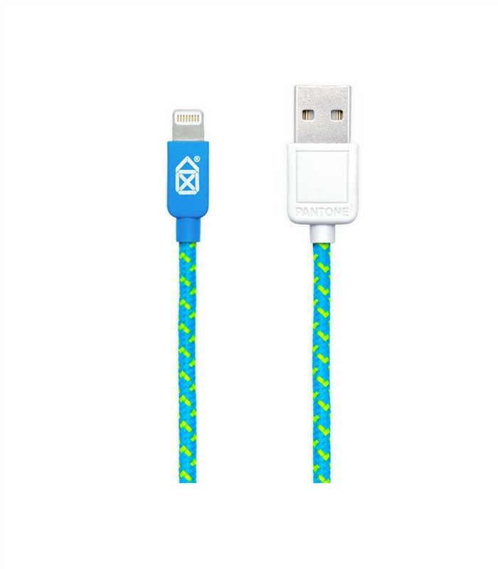 Case Scenario Pantone Fabric Lightning Cable Blue/Green 2M