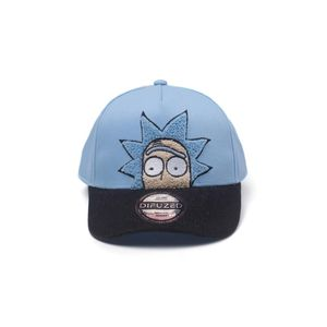 Difuzed Rick And Morty Chenille 2D Embroidery Curved Bill Blue Cap