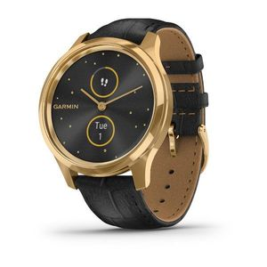 Garmin vivomove Luxe 42mm 24K Gold PVD Stainless Steel Case with Black Embossed Italian Leather Band Smart Watch