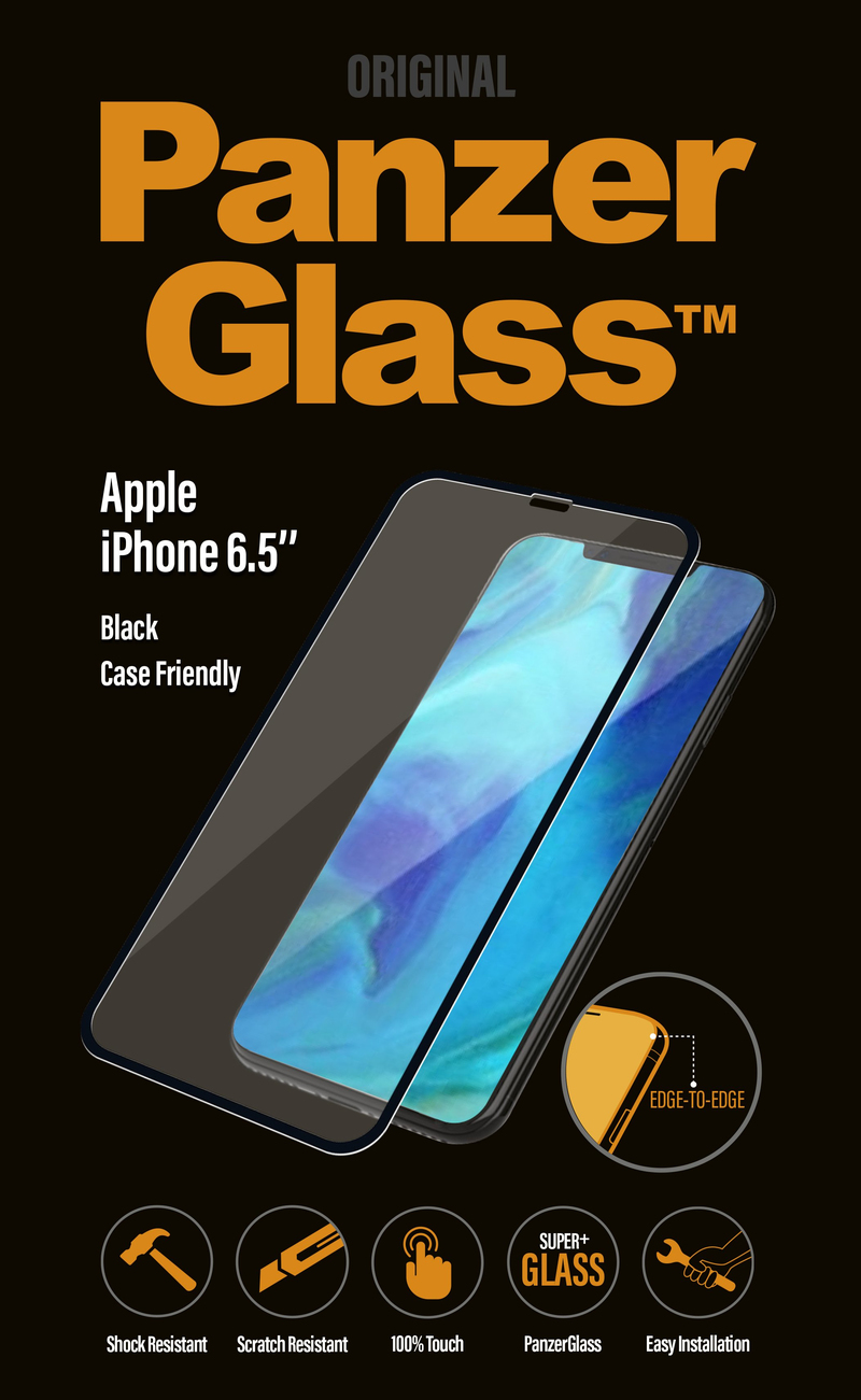 pretty nice 8ed6f 298f9 PanzerGlass Edge to Edge Black Frame for iPhone XS Max
