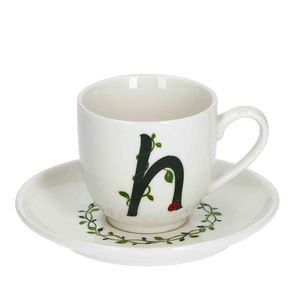 La Procellana Bianca Solotua Coffee Cup with Saucer Letter H 3 oz