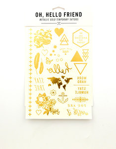 Oh Hello Friend Temporary Tattoos In Gold Metallic Set1