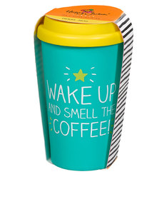 Happy Jackson Smell The Coffee! Turquoise/Yellow Travel Mug