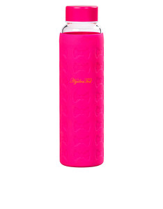 Ted Baker Hot Pink Glass Water Bottle With Silicon Sleeve