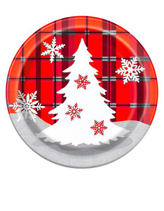 Unique Rustic Plaid Christmas Plate 7-Inch [Pack Of 8]