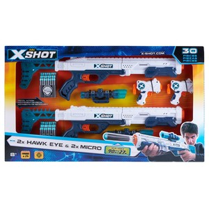 X-Shot Excel Combo 2X Hawkeye/2X Micro Blasters [Includes 24 Darts]