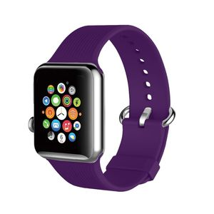 Promate Silica-42 Purple Lightweight Contoured Silicon Watch Strap with Single Tour Deployment Buckle for 42mm Apple Watch
