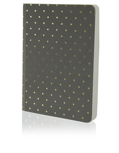 Go Stationery Shimmer A6 Notebook Small Gold Poka Taupe