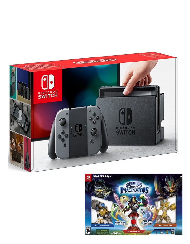 nintendo switch 32gb console with grey joy con controller skylanders imaginators starter pack. Black Bedroom Furniture Sets. Home Design Ideas