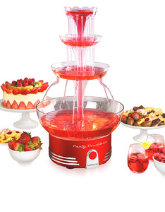 Nostalgia Deluxe Lighted Party Fountain Retro Red