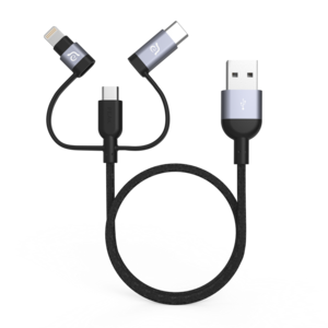 Adam Elements PeAk II TRIO Lightning/Type-C/Micro USB Cable Grey 30cm