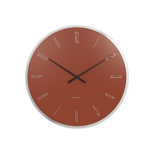 Karlsson Wall Clock Mirror Numbers Glass Clay Brown