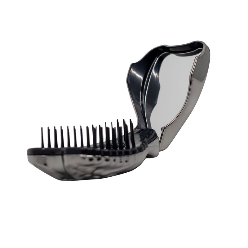 Tangle Angel Compact Hair Brush Titanium with Mirror