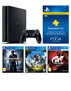 Sony PS4 Slim 500GB Jet Black + Horizon Zero Dawn + Uncharted 4: A Thief's End + GT Sport + 3 Months PS Plus