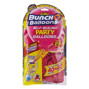 Bunch O Balloons Party 24 Self-Closing Latex Balloons Refill Pack Pink