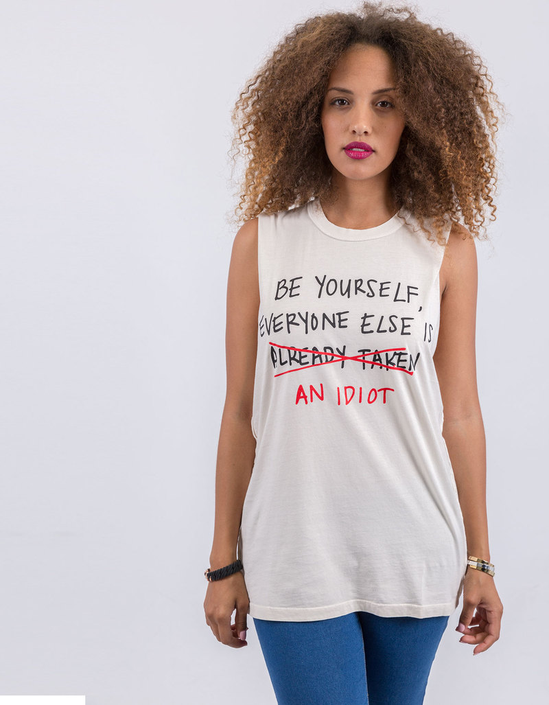 Be Yourself Vintage White Muscle Tee