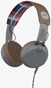 Skullcandy Grind Americana Plaid/Grey W/Mic Headphones