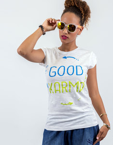 Happiness Good Karma Basic Flammed T-Shirt