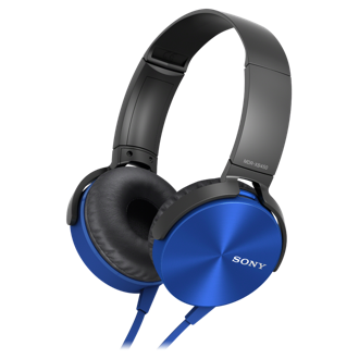 Sony Mdrxb450Ap Blue W/Mic Xb Series Headphones
