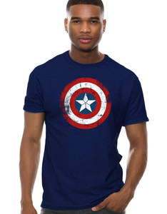 CID Captain America: Civil War Cap Shield Distressed Navy Blue T-Shirt
