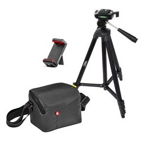 Manfrotto National Geographic 3-way head tripod S + Manfrotto NX Shoulder bag DSLR Grey + Manfrotto Smartphone Clamp Bundle Kit