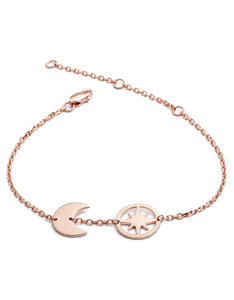 Chavin Rose Gold Moon And Star Bracelet