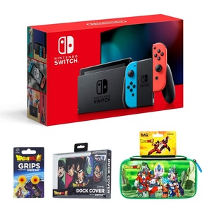 Nintendo Switch V2 Neon Joy-Con + FR-TEC Dragon Ball Super Universe Case + FR-TEC Dock Cover + FR-TEC 1 Star Grips