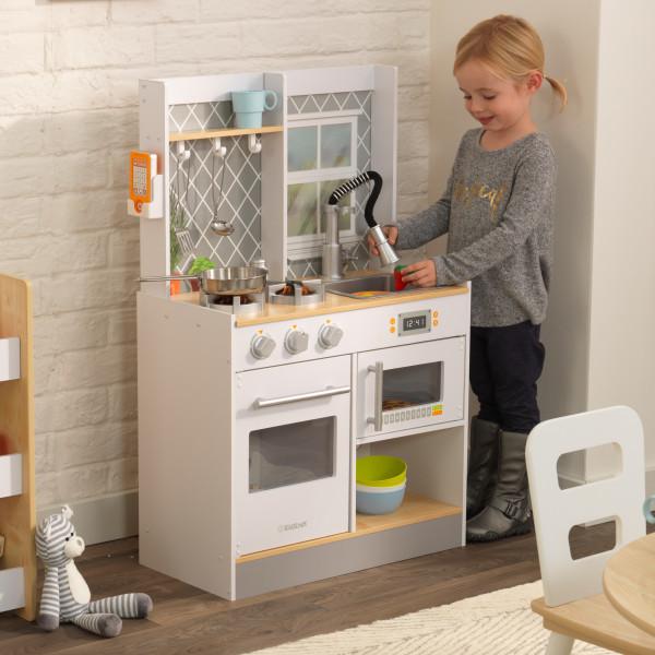 Kidkraft Let\'s Cook Wooden Play Kitchen White