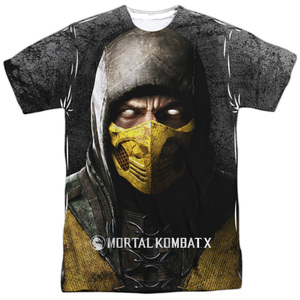 Mortal Kombat X Finish Him-S S Men's Poly Crew White