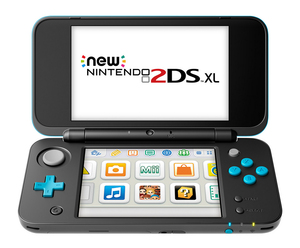 Nintendo 2DS XL Black & Turquoise + 2 Games