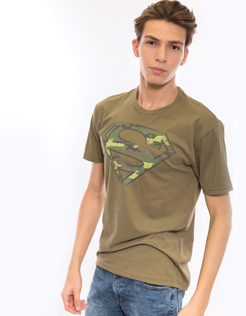 Superman Distressed Camo Shield Military Green Men's T-Shirt
