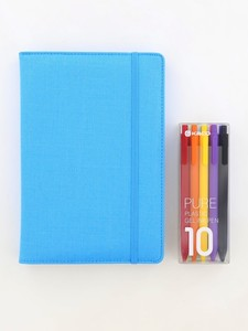 Kaco Memory Light Blue A5 Notebook With Folder & Pure Soft Touch Gel Pen [10 Piece]