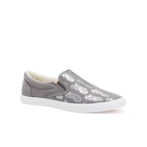 Bucketfeet Pineappleade Charcoal/Silver Low Top Canvas Slip On Women's Shoes