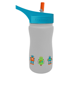 EcoVessel Frost Gray Robot Kids Water Bottle 400ml