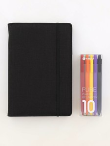 Kaco Memory Black A5 Notebook With Folder & Pure Soft Touch Gel Pen [10 Piece]