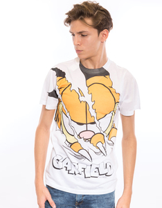 Garfield Torn White Poly Crew Men's T-Shirt