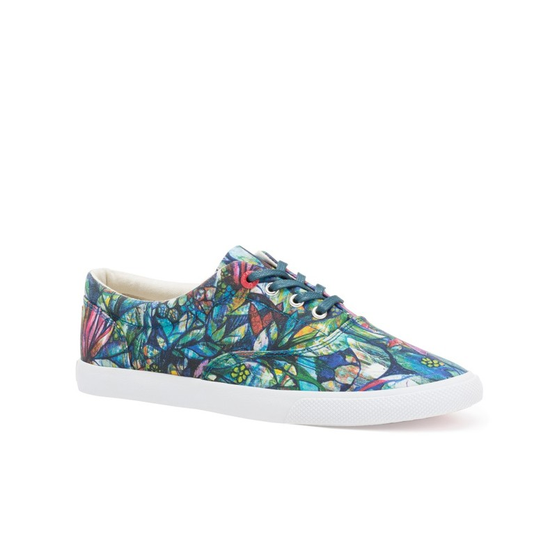 Bucketfeet Botanical Gardens Teal Low Top Canvas Lace  Women'S Shoes Size 8