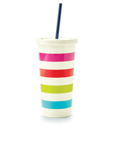 Kate Spade Tumbler with Straw Candy Stripe