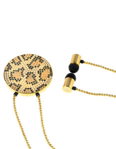 J'Adore Adorn Bare Your Wild Side Black/Bronze/Gold Crystals & Gold Beads Round Pendant In-Ear Earphones