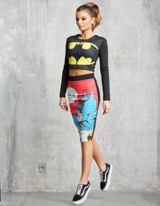 Sugarbird Batman Long-Sleeved Front Zip Cropped Top