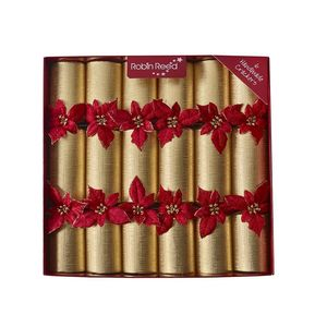 Robin Reed Mayfair Glitter Poinsettia Christmas Crackers [Set of 6]