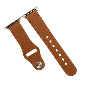 Promate Genio-42 Light Brown Genuine Leather Strap with Pin-and-Tuck Closure for 42mm Apple Watch
