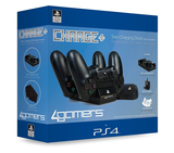 4 Gamers Twin Charger with Cleaning Cloth for Ps4 Black