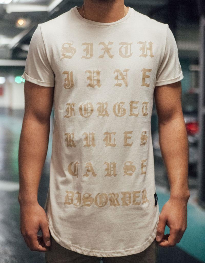1654942644 Sixth June Curved Inscriptions Beige T-Shirt